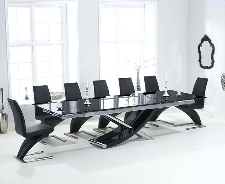 Black Glass Extending Dining Table 6 Chairs – Parabulucu (Image 8 of 25)