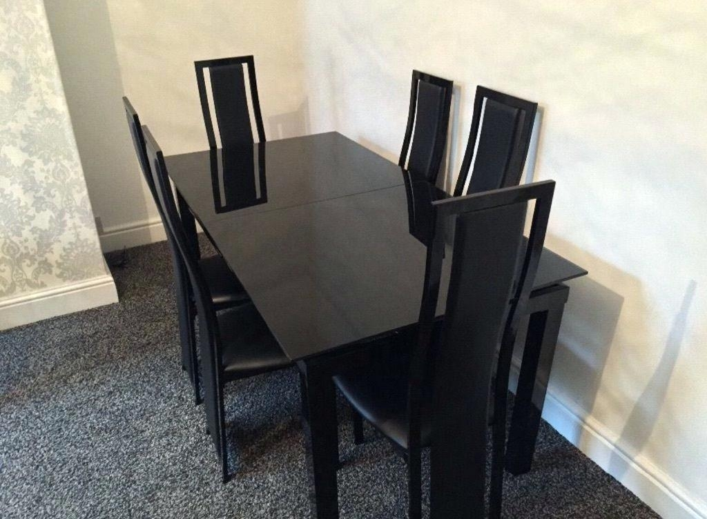 Black Glass Extending Dining Table 6 Chairs – Parabulucu (Image 6 of 25)