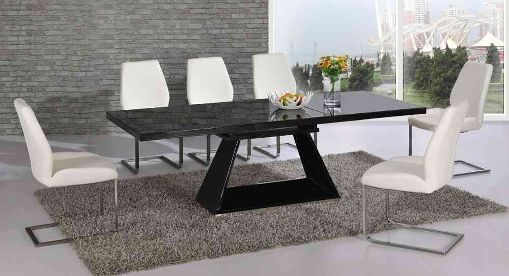 Black Glass Extending High Gloss Dining Table And 6 White Chairs In Black High Gloss Dining Tables (View 9 of 25)