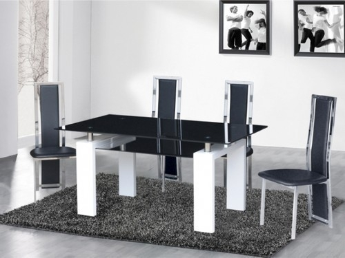 Black Glass / High Gloss Dining Table And 4,6 Chairs – Homegenies In Black Gloss Dining Tables And 6 Chairs (Image 3 of 25)