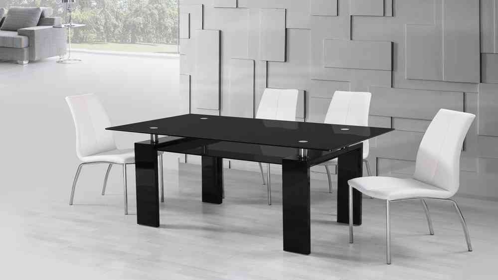 Black Glass High Gloss Dining Table And 6 White Dining Chairs Regarding Black High Gloss Dining Chairs (Image 3 of 25)
