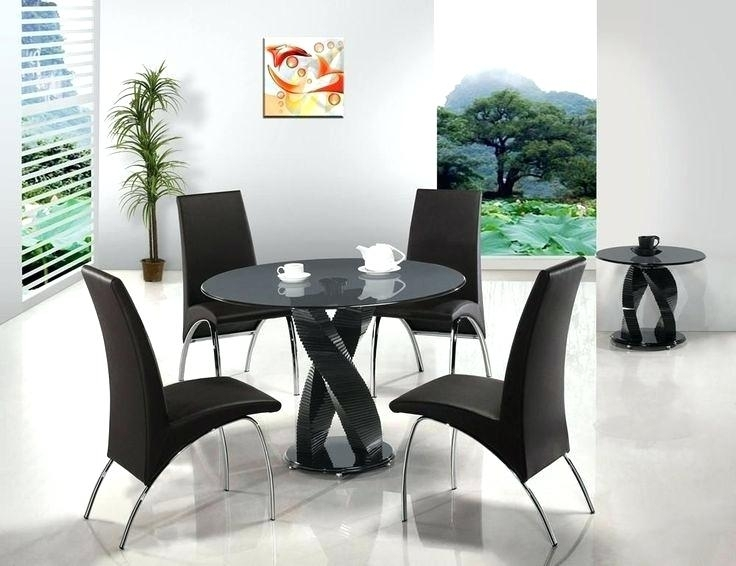Black Glass Round Dining Table And Chairs Black Metal Wood Round For Round Black Glass Dining Tables And 4 Chairs (Image 3 of 25)