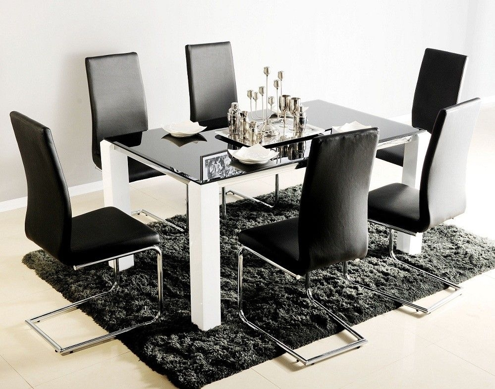 Black Glass Top Dining Table For 6 With White Legs Also Modern Throughout Black Glass Dining Tables And 6 Chairs (Image 10 of 25)
