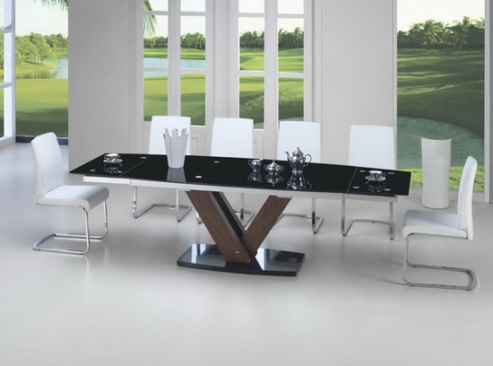 Black Glass Walnut Extending Dining Table Glass Dining Table And 8 Intended For Extending Glass Dining Tables And 8 Chairs (Image 3 of 25)