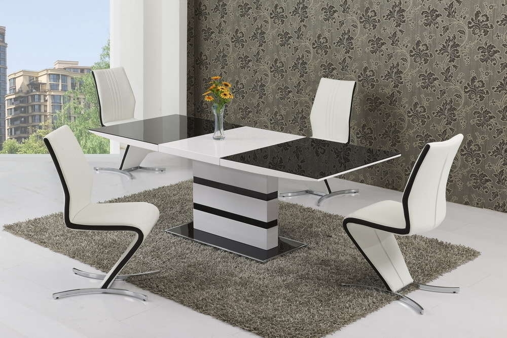 Black Glass White High Gloss Extendable Dining Table And 8 Chairs With Regard To Extending Glass Dining Tables And 8 Chairs (Image 4 of 25)