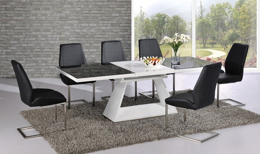 Black Glass White High Gloss Extending Dining Table With 8, Black With Regard To Black Extendable Dining Tables Sets (Image 6 of 25)