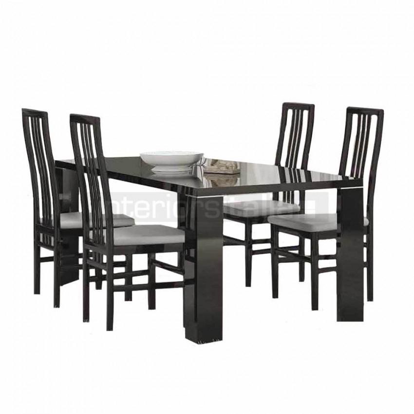 Black Gloss Dining Sets | Armonia Black | Sale Pertaining To Black Gloss Dining Furniture (Image 2 of 25)