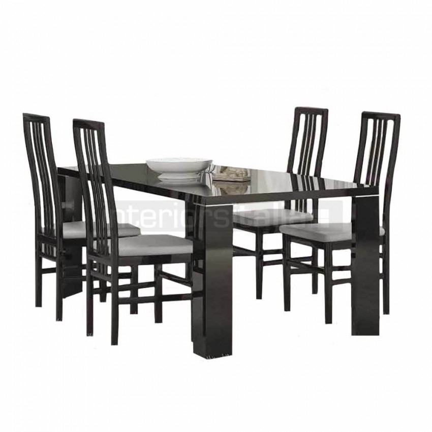 Black Gloss Dining Sets | Armonia Black | Sale Pertaining To Black High Gloss Dining Chairs (Image 4 of 25)