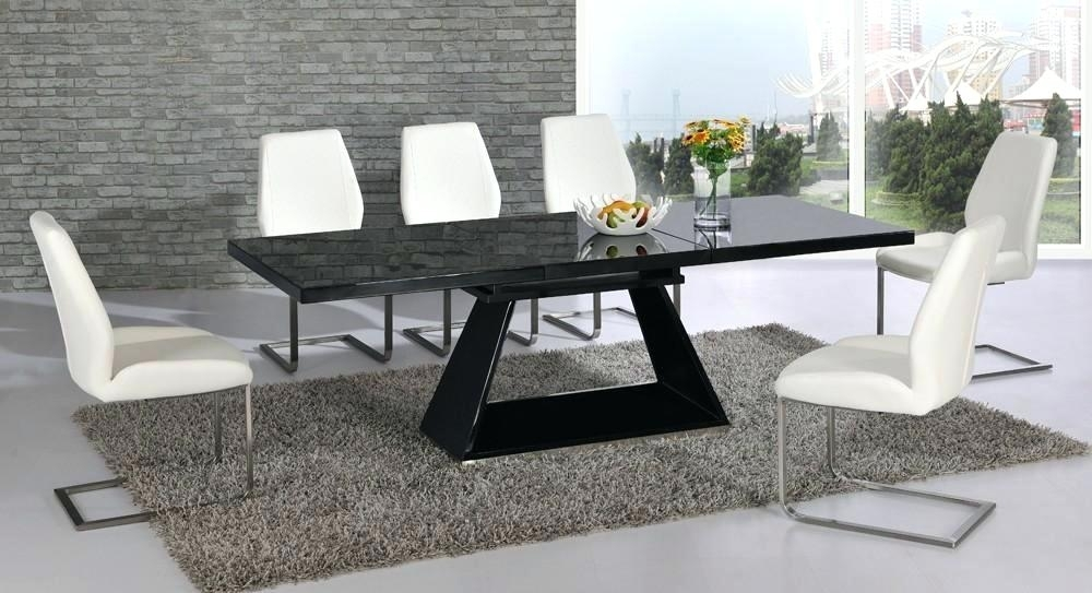 Black Gloss Dining Table 120Cm High Extending – Christuck Regarding Extending Black Dining Tables (Image 4 of 25)