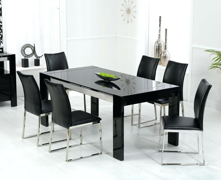 Black Gloss Dining Table 120Cm High Extending – Christuck Throughout Next White Dining Tables (Image 5 of 25)