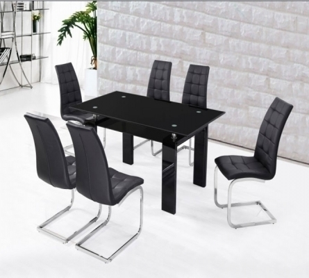 Black High Gloss Dining Set With 6 Black Chairs – Homegenies For Black High Gloss Dining Chairs (Image 5 of 25)