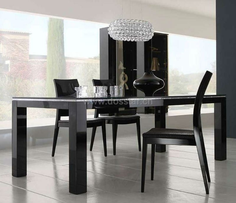 Black High Gloss Dining Table Dm01# China (Mainland) Furniture Regarding Black Gloss Dining Sets (Image 4 of 25)