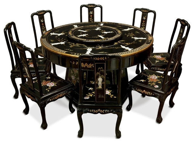Black Lacquer Dining Table With 8 Chairs – Asian – Dining Sets – With Regard To Asian Dining Tables (View 5 of 25)