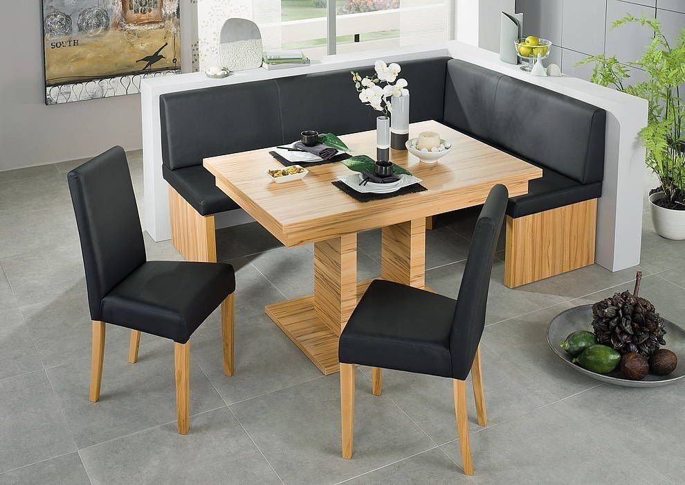 Black Leather Corner Bench Breakfast Booth Nook Kitchen Nook Booth With Caira Black 5 Piece Round Dining Sets With Diamond Back Side Chairs (Image 5 of 25)