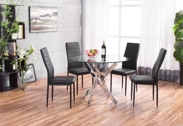 Black Novara Chrome Round Glass Dining Table Set | Furniturebox Throughout Round Black Glass Dining Tables And 4 Chairs (Image 4 of 25)