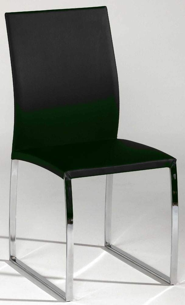 Black Or Taupe Leather Dining Chair With Brilliant Chrome Base For Chrome Leather Dining Chairs (Image 3 of 25)