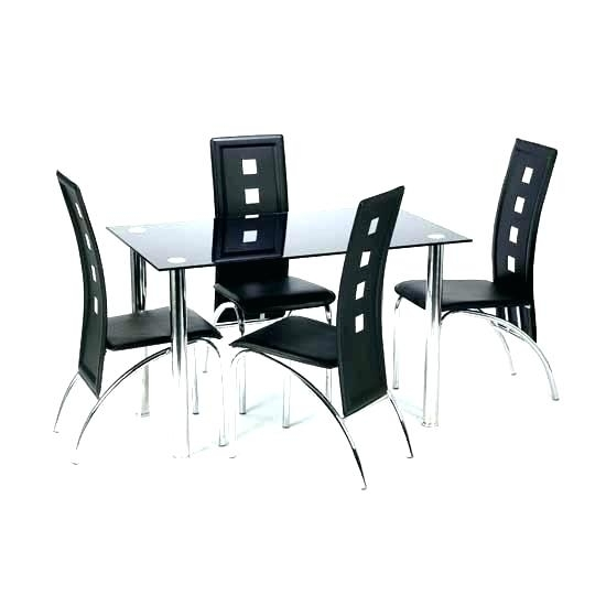 Black Round Dining Table And Chairs – Buzzvira With Regard To Black Glass Dining Tables And 4 Chairs (Image 6 of 25)