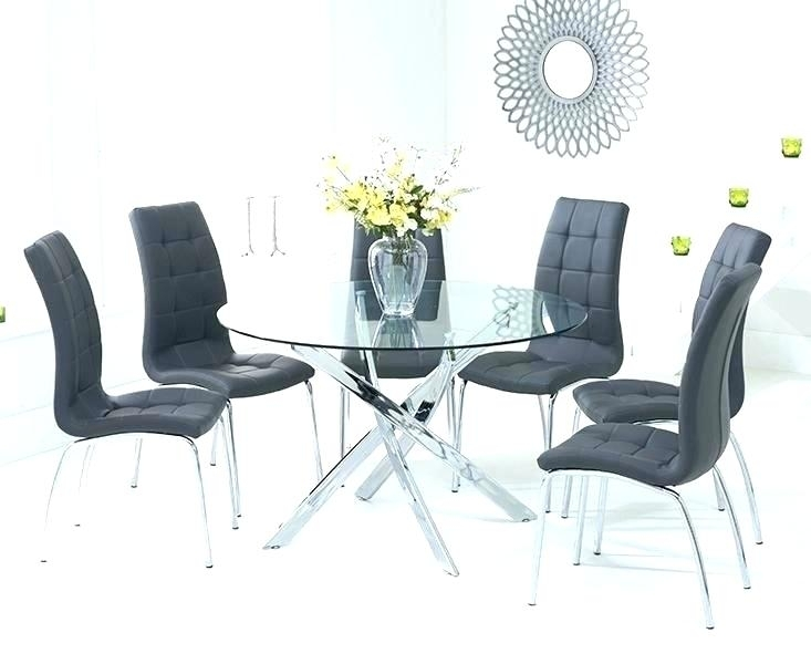 Black Round Dining Table Set Round Black Glass Dining Table And Within Round Black Glass Dining Tables And Chairs (Image 4 of 25)