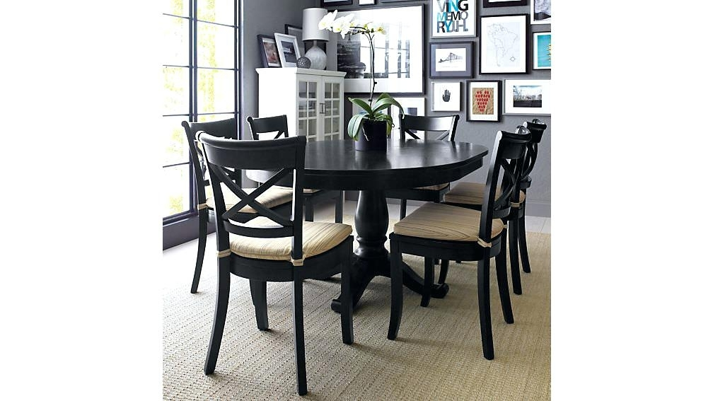 Black Round Dining Table With Leaf Round Extendable Dining Table Within Extendable Round Dining Tables Sets (Image 3 of 25)