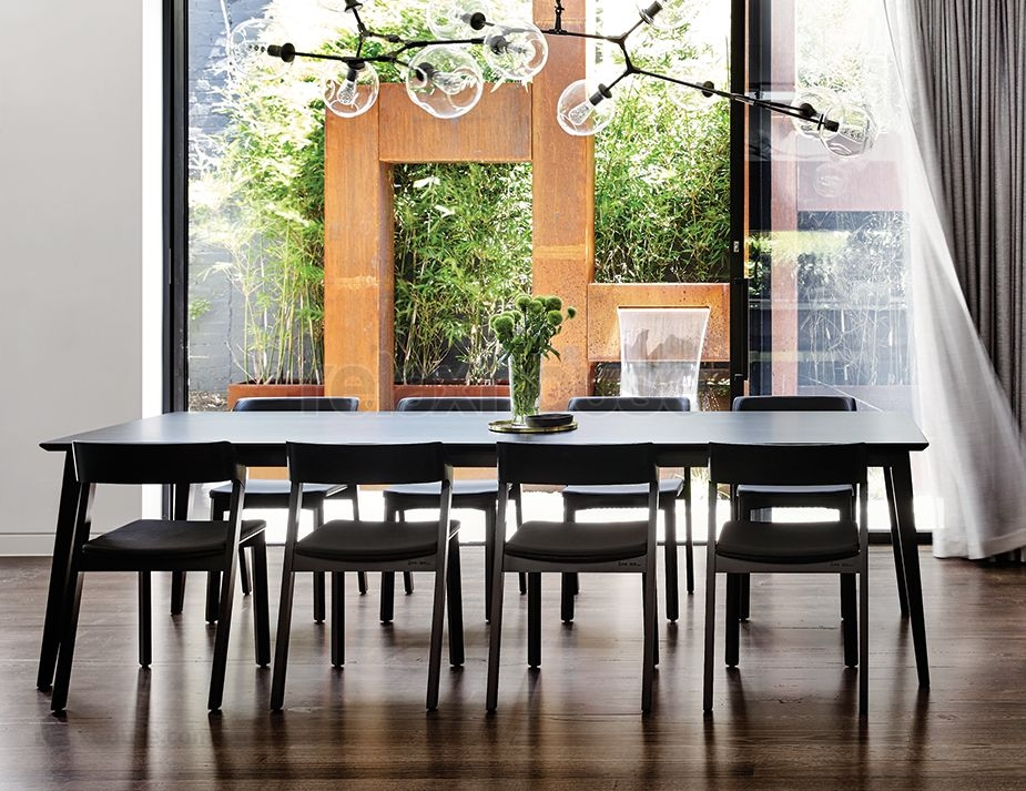 Black Solid Timber Dining Table Intended For Black Dining Tables (Image 8 of 25)