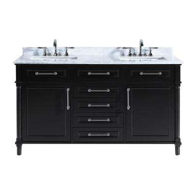 Black – Vanities With Tops – Bathroom Vanities – The Home Depot Pertaining To Ina Pewter 60 Inch Counter Tables With Frosted Glass (View 20 of 25)
