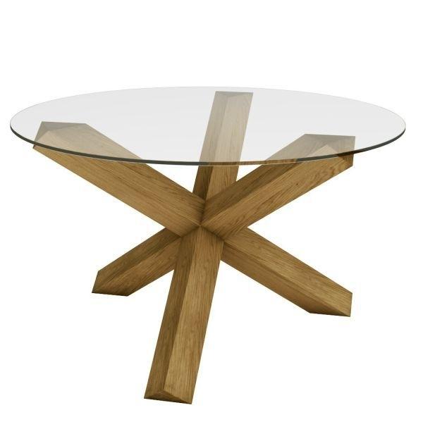 Black Walnut Desk Cross Leg   Oak Tables > Crossed Leg Table (Glass Throughout Glass Dining Tables With Oak Legs (Image 4 of 25)