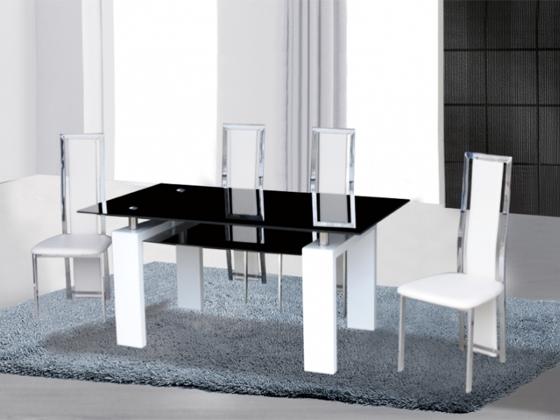 Black/white High Gloss Glass Dining Table & 4 Chairs – Homegenies Intended For White Glass Dining Tables And Chairs (Image 7 of 25)