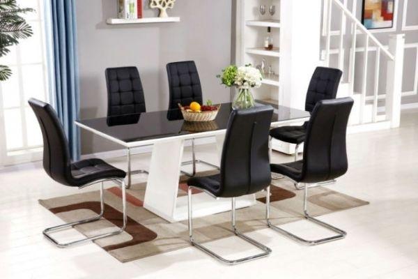 Black/white Murano High Gloss Dining Set   Furniturebox For Black High Gloss Dining Tables (Image 7 of 25)
