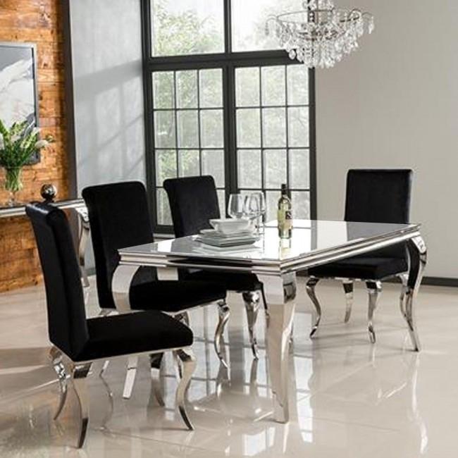 Black Wood Dining Room Set – Palesten – In Pelennor Extension Dining Tables (Image 3 of 25)