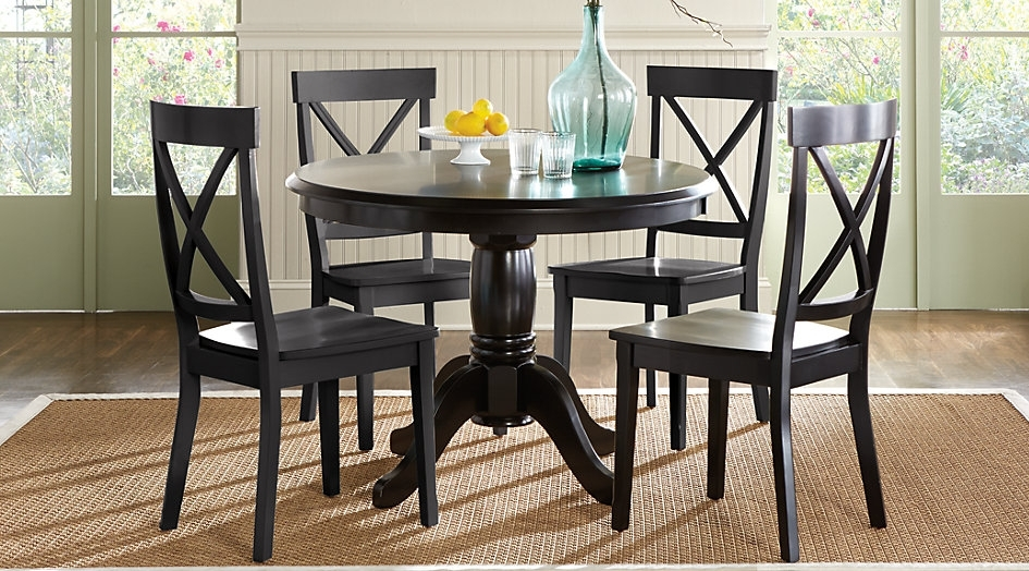 Black Wooden Round Dining Table With Glass Teapot Tables Throughout Caira Black Round Dining Tables (Image 6 of 25)