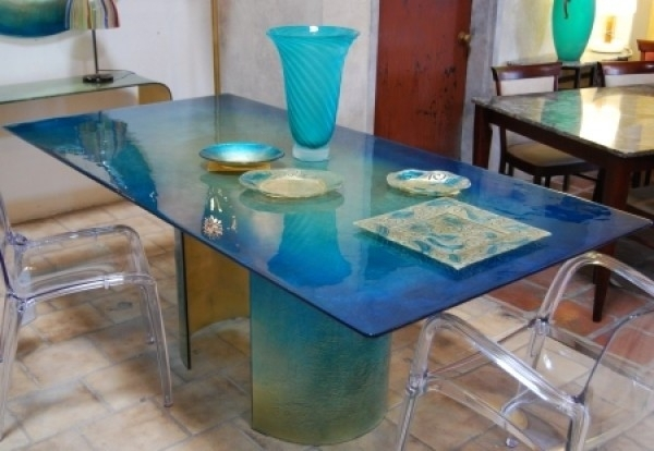 Blazzing House: Modern And Attractive Glass Dining Table Design With For Blue Dining Tables (Image 4 of 25)