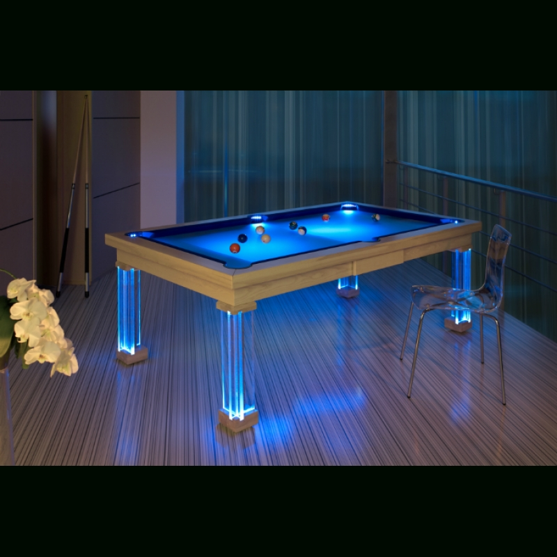 Blj Mon 8Ft Ash8, Bilijardai Pronto Monaco Dining Pool Table With Pertaining To Dining Tables With Led Lights (Image 4 of 25)
