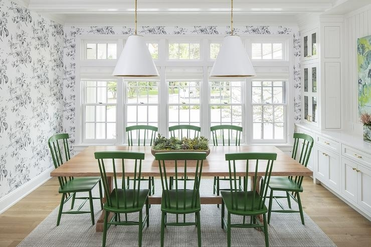 Blond Wood Table With Emerald Green Windsor Dining Chairs Intended For Green Dining Tables (View 9 of 25)