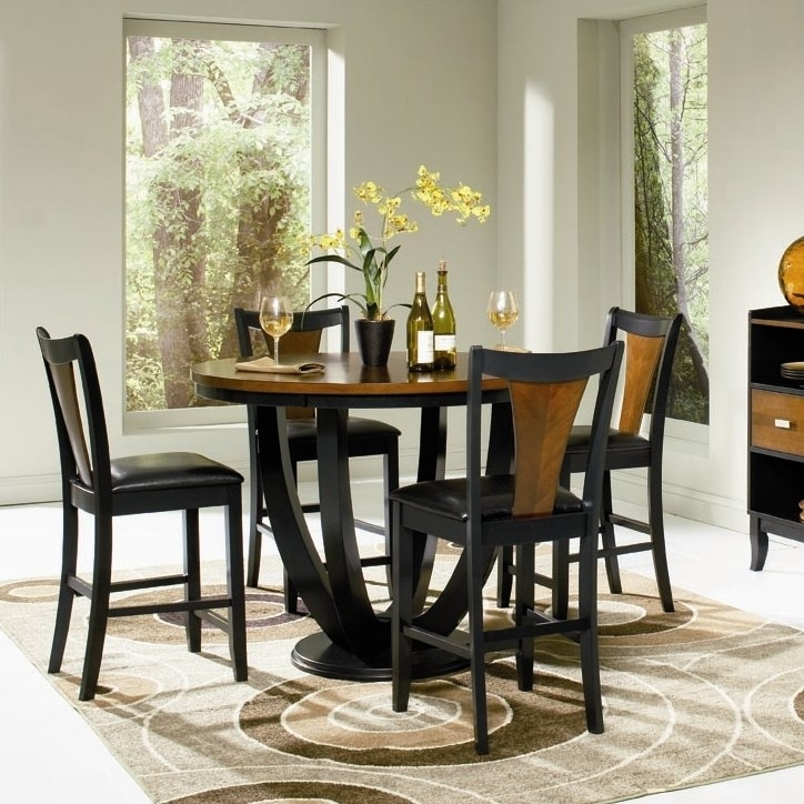 Bloomsbury Market Sarris Round Counter Height Dining Table Reviews Intended For Market 5 Piece Counter Sets (View 7 of 25)