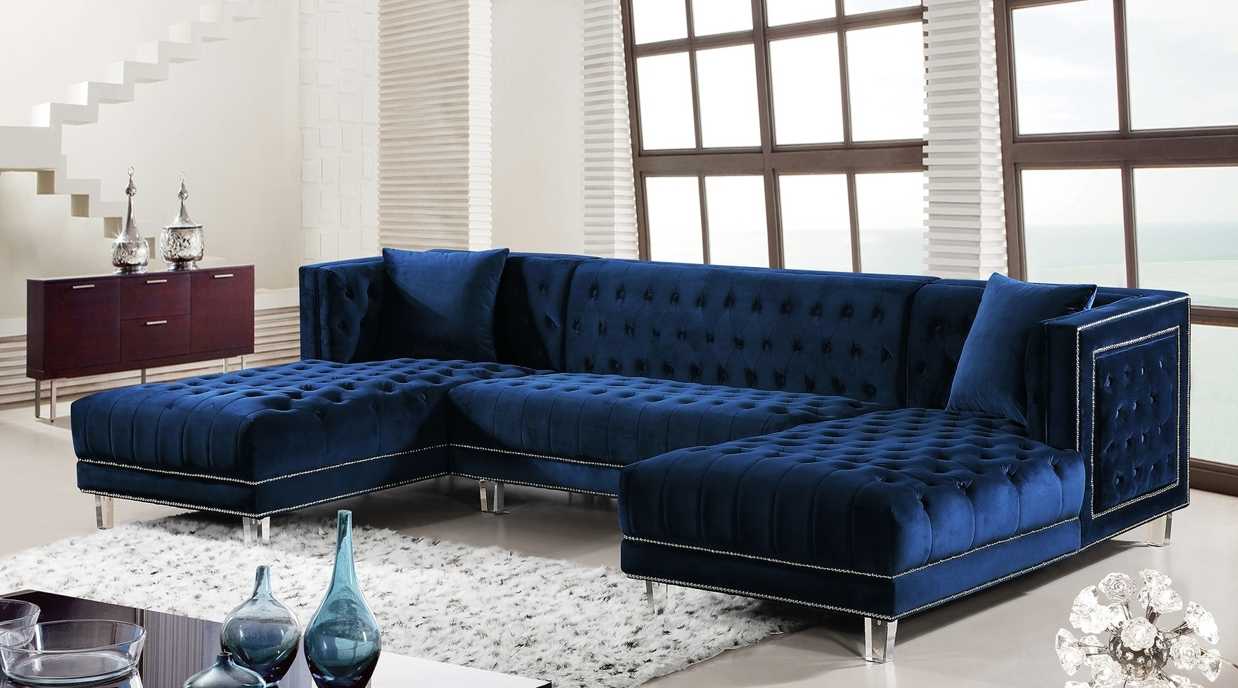 Blue Sectional Sofa Coaster Keaton Transitional Five Piece With In Benton 4 Piece Sectionals (Image 7 of 25)