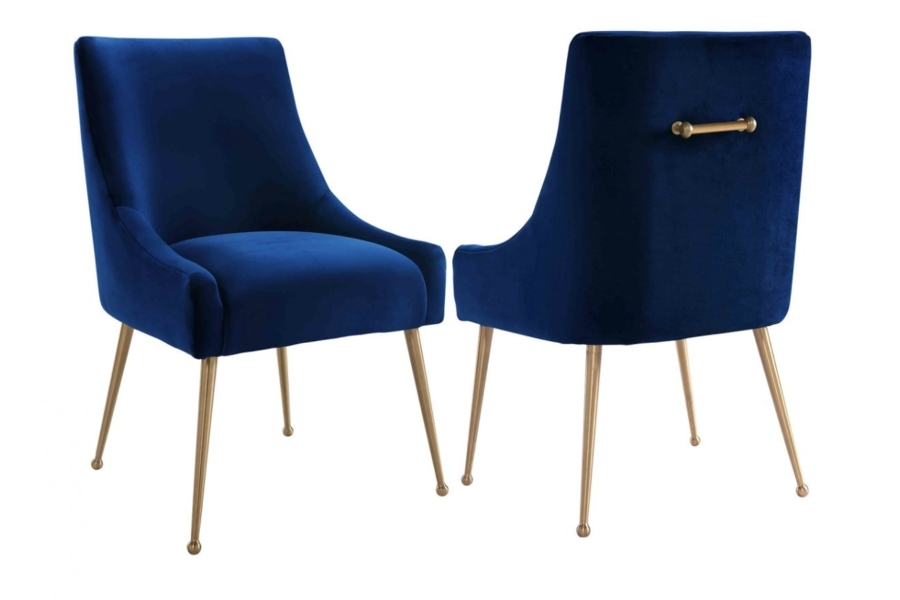 Blue Velvet Dining Chairs | Vinterior Within Velvet Dining Chairs (Image 8 of 25)