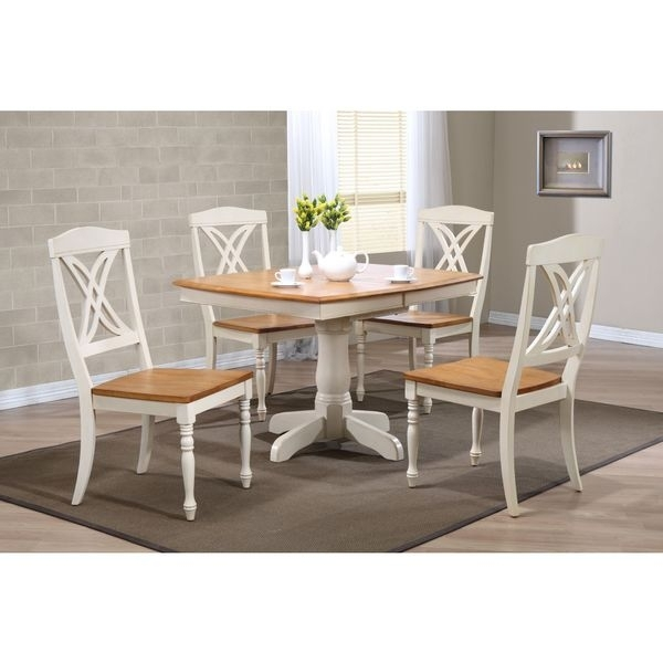 Boat Shaped Caramel/ Biscotti Butterfly Back 5 Piece Dining Set With Caden 5 Piece Round Dining Sets With Upholstered Side Chairs (View 12 of 25)