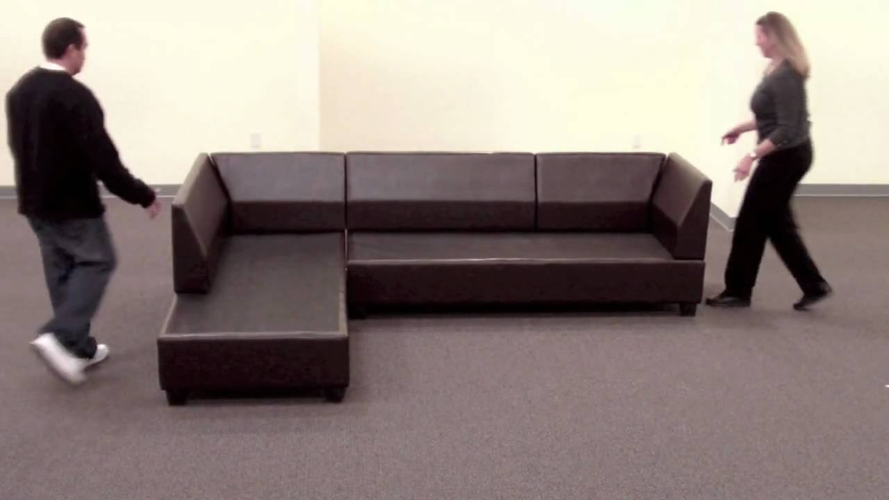 Bobkona Sectional Sofa Reversible Assembly – Youtube With Collins Sofa Sectionals With Reversible Chaise (View 20 of 25)