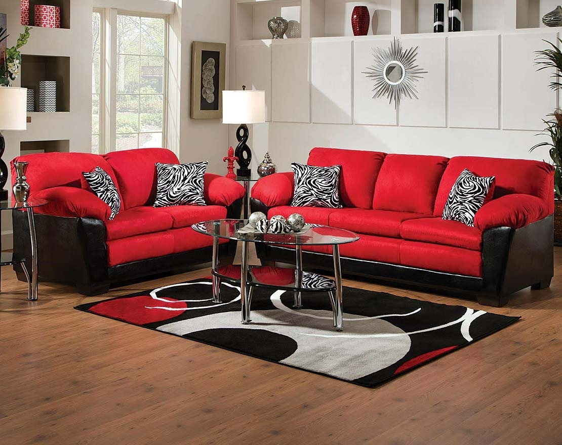 Bold Red And Black Couch Set | Jefferson Red Sofa & Loveseat Intended For Norfolk Chocolate 3 Piece Sectionals With Raf Chaise (Image 6 of 25)