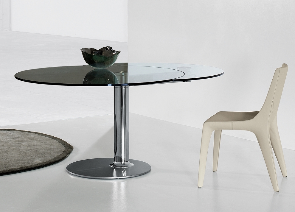 Bonaldo Plinto Round Extending Table | Round Extending Dining Tables Inside Glass Round Extending Dining Tables (Image 4 of 25)