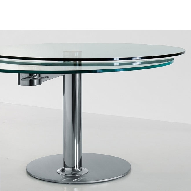 Bonaldo – Plinto Round Glass Extension Table | Panik Design Regarding Glass Round Extending Dining Tables (View 4 of 25)