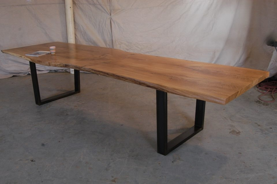 Bookmatched White Oak Dining Table With Steel U Legs   Bjorling Grant With Dining Tables With White Legs (Image 2 of 25)