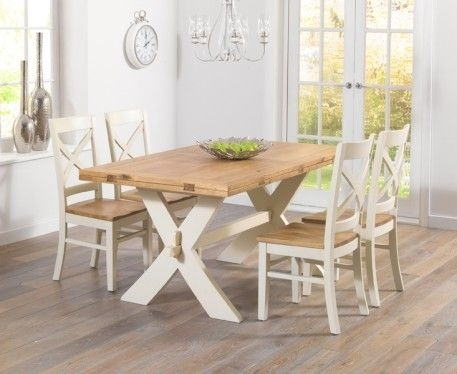 Bordeaux 165Cm Oak And Cream All Sides Extending Table With Pertaining To Cream And Oak Dining Tables (Image 1 of 25)