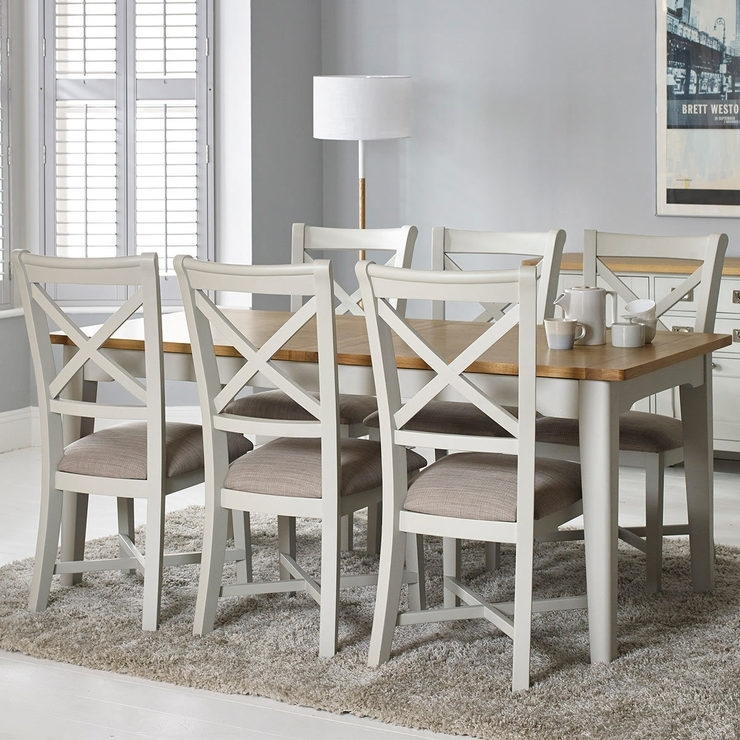 Bordeaux Painted Ivory Large Extending Dining Table + 6 Chairs Intended For Extending Dining Tables With 6 Chairs (Image 4 of 25)