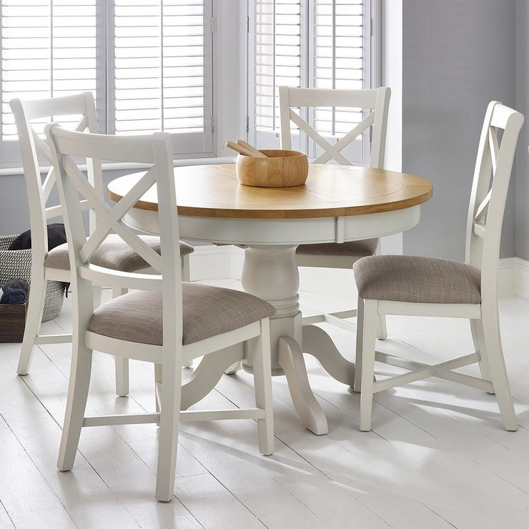 Bordeaux Painted Ivory Round Extending Dining Table + 4 Chairs Pertaining To Combs Extension Dining Tables (Image 9 of 25)