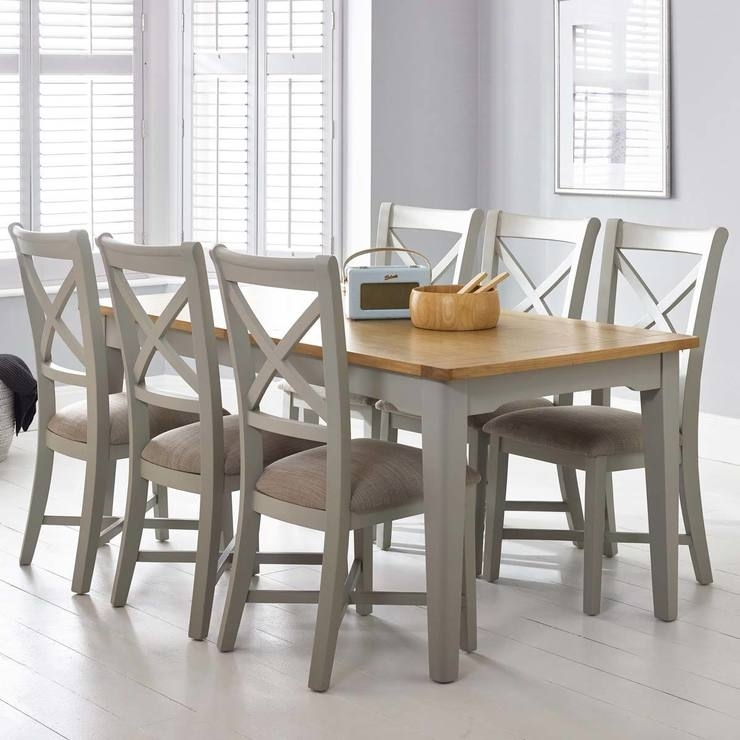 Bordeaux Painted Light Grey Large Extending Dining Table + 6 Chairs With Regard To Dining Tables With Grey Chairs (Image 5 of 25)