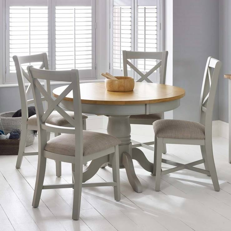 Bordeaux Painted Light Grey Round Extending Dining Table + 4 Chairs Inside Dining Tables With Grey Chairs (Image 6 of 25)
