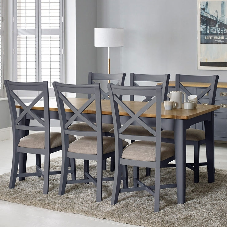 Bordeaux Painted Taupe Large Extending Dining Table + 6 Chairs Throughout Extendable Dining Sets (Image 3 of 25)