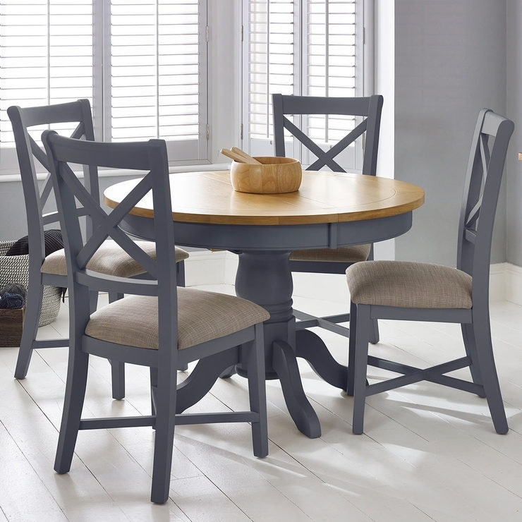 Bordeaux Painted Taupe Round Extending Dining Table + 4 Chairs Pertaining To Combs Extension Dining Tables (Image 11 of 25)