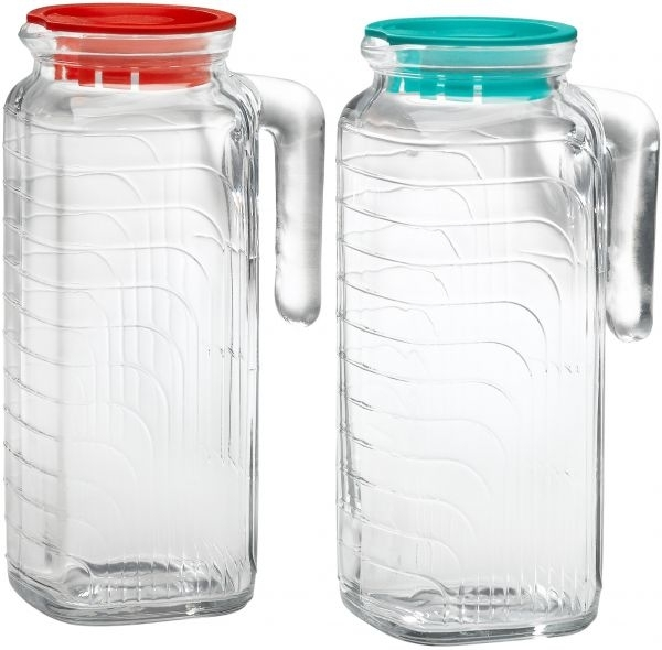 Bormioli Rocco Gelo 2 Piece Glass Pitcher Set With Lids, Red And For Rocco 9 Piece Extension Counter Sets (Image 7 of 25)